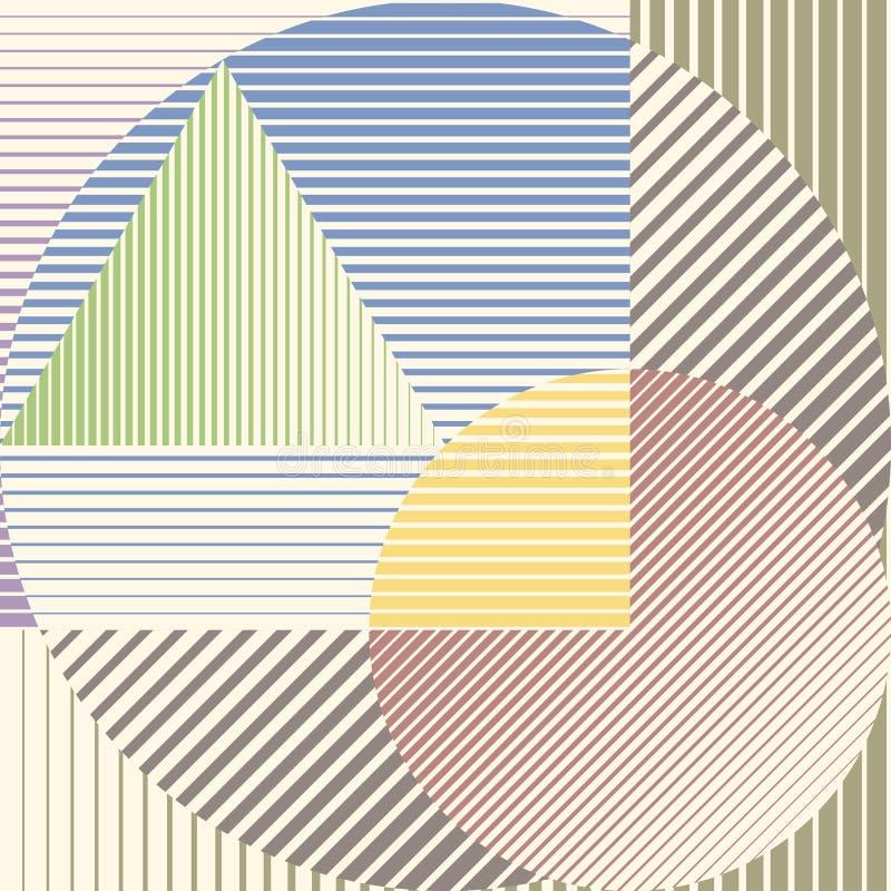 Ζωηρόχρωμο minimalistic σχέδιο με τις γεωμετρικές μορφές που διαμορφώνουν το αφηρημένο όμορφο υπόβαθρο Τέλεια διακόσμηση για ελεύθερη απεικόνιση δικαιώματος