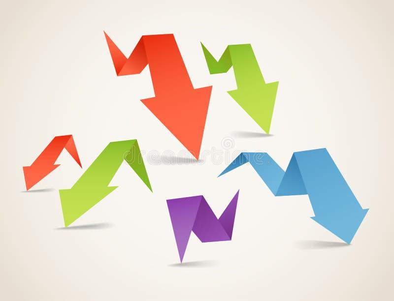 ζωηρόχρωμο origami βελών polygonal διανυσματική απεικόνιση