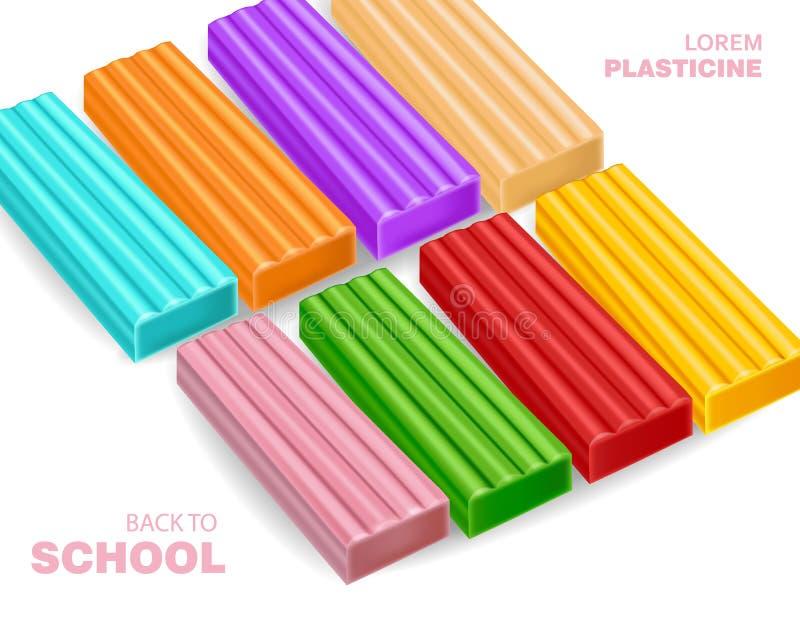 Ζωηρόχρωμο plasticine πίσω στο διάνυσμα σχολικής έννοιας διανυσματική απεικόνιση