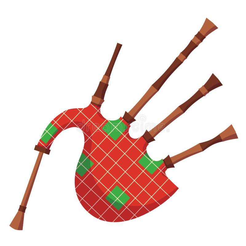 Ζωηρόχρωμο traditionitonny μουσικό σκωτσέζικο πολιτιστικό όργανο αέρα bagpipe απεικόνιση αποθεμάτων