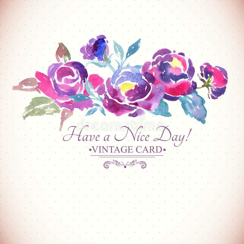 Ζωηρόχρωμο Watercolor αυξήθηκε Floral ευχετήρια κάρτα διανυσματική απεικόνιση