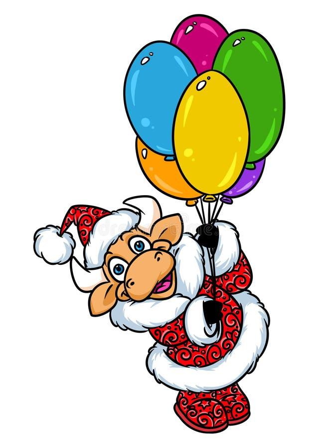 Ζωικά κινούμενα σχέδια χαρακτήρα Χριστουγέννων μπαλονιών πτήσης του Bull Άγιος Βασίλης διανυσματική απεικόνιση
