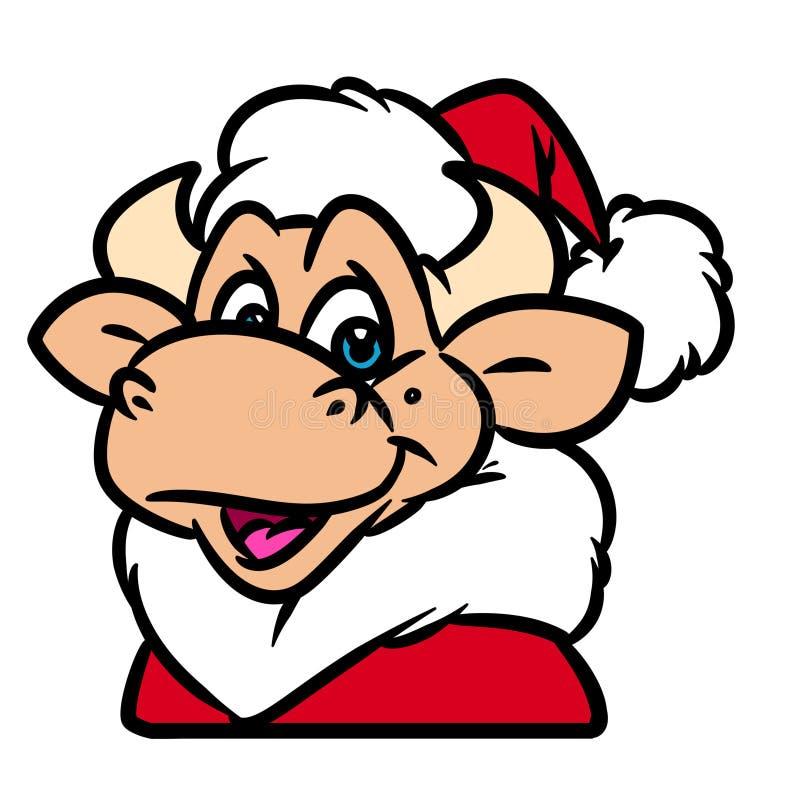 Ζωικά κινούμενα σχέδια χαρακτήρα Χριστουγέννων πορτρέτου του Bull Άγιος Βασίλης απεικόνιση αποθεμάτων