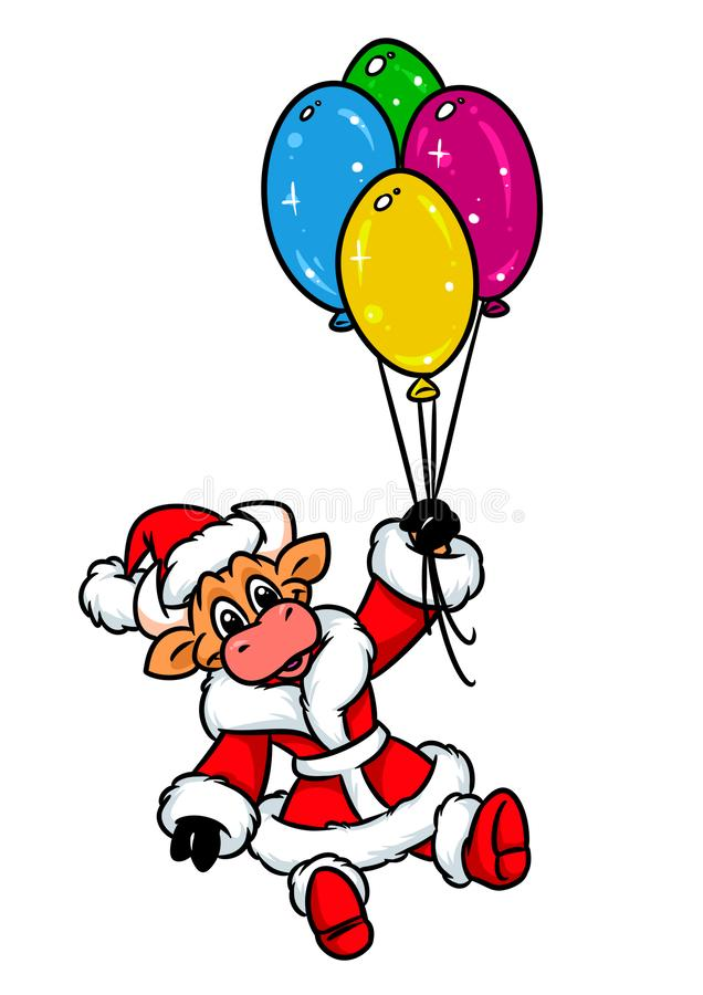 Ζωικά κινούμενα σχέδια Χριστουγέννων μπαλονιών πτήσης του Bull Άγιος Βασίλης απεικόνιση αποθεμάτων
