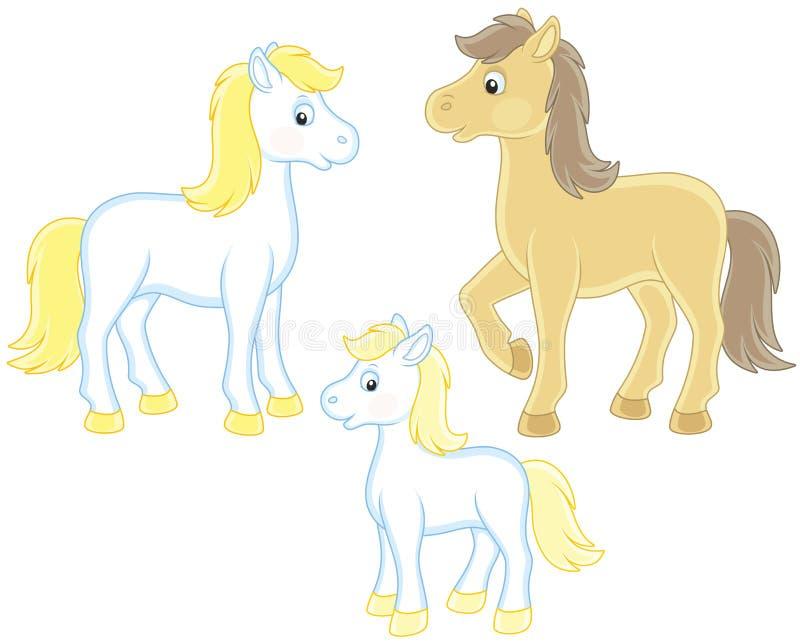 ζωικά οικογενειακά αστεία άλογα χαρακτηρών κινουμένων σχεδίων που απομονώνονται διανυσματική απεικόνιση