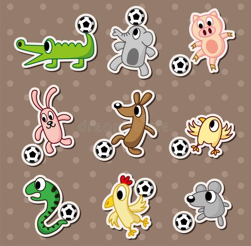 ζωικές αυτοκόλλητες ετικέττες ποδοσφαίρου ποδοσφαίρου σφαιρών απεικόνιση αποθεμάτων