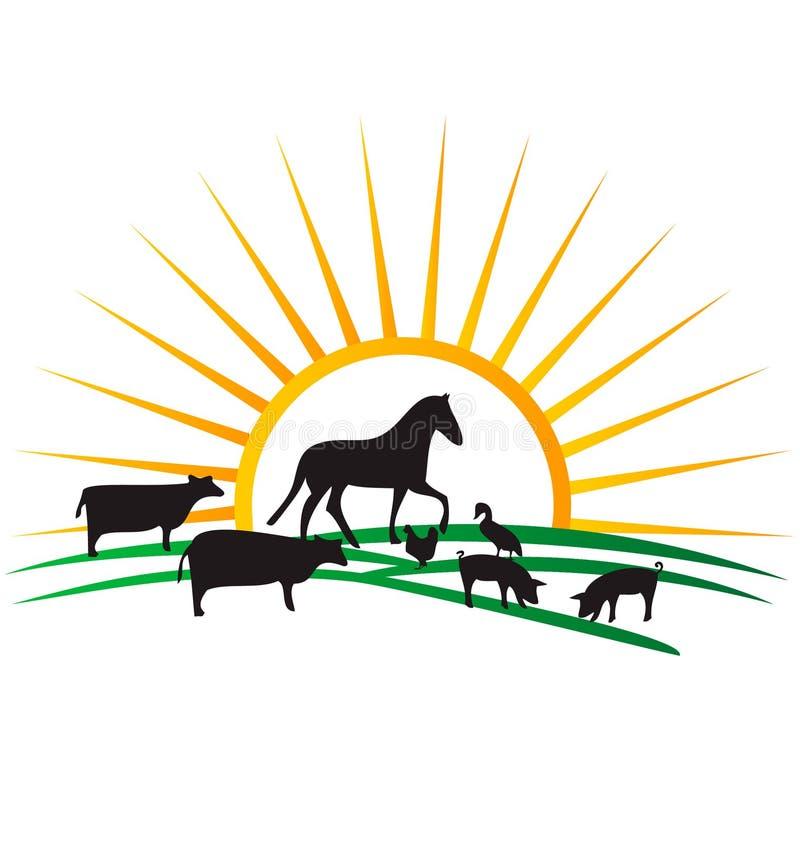 ζωικές σκιαγραφίες αγροτικών λογότυπων ελεύθερη απεικόνιση δικαιώματος