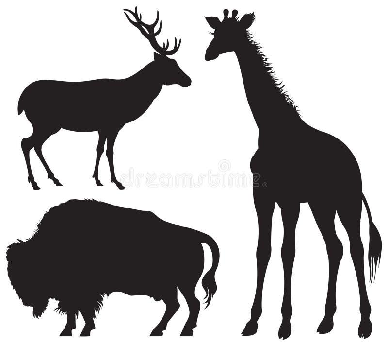ζωικές giraffe ελαφιών βισώνων άγ& διανυσματική απεικόνιση
