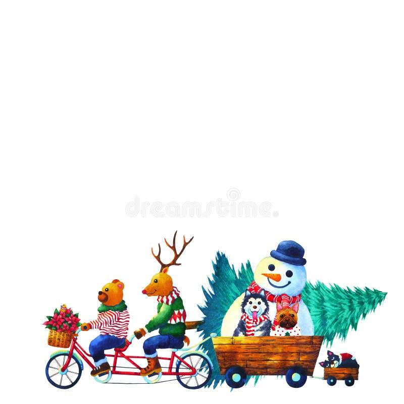 Ζωική απεικόνιση ζωγραφικής watercolor καλής χρονιάς Χριστουγέννων διανυσματική απεικόνιση