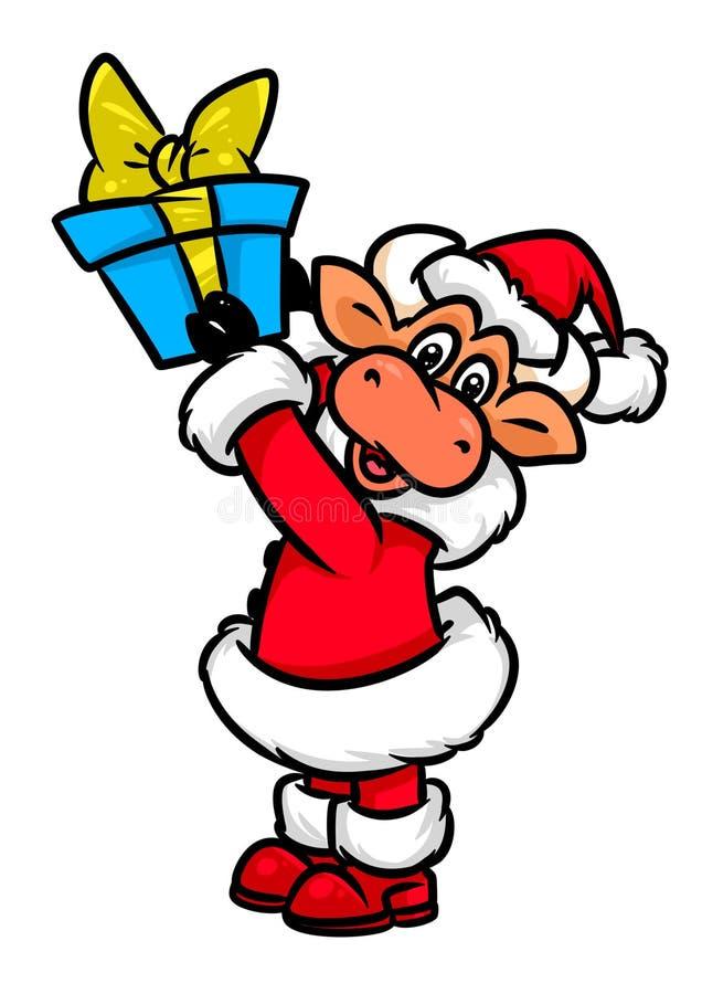 Ζωική απεικόνιση κινούμενων σχεδίων χαρακτήρα δώρων Χριστουγέννων του Bull Άγιος Βασίλης ελεύθερη απεικόνιση δικαιώματος