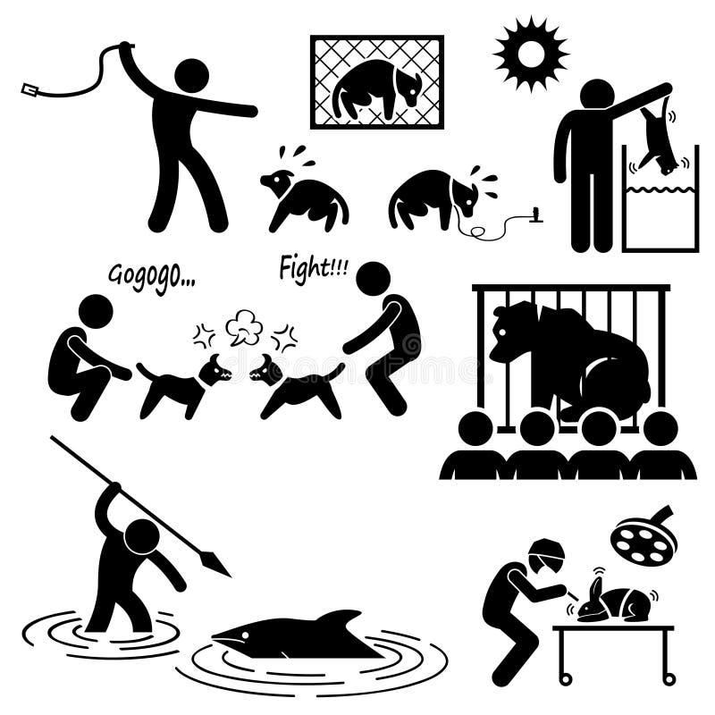 Ζωική κατάχρηση σκληρότητας από τον άνθρωπο διανυσματική απεικόνιση
