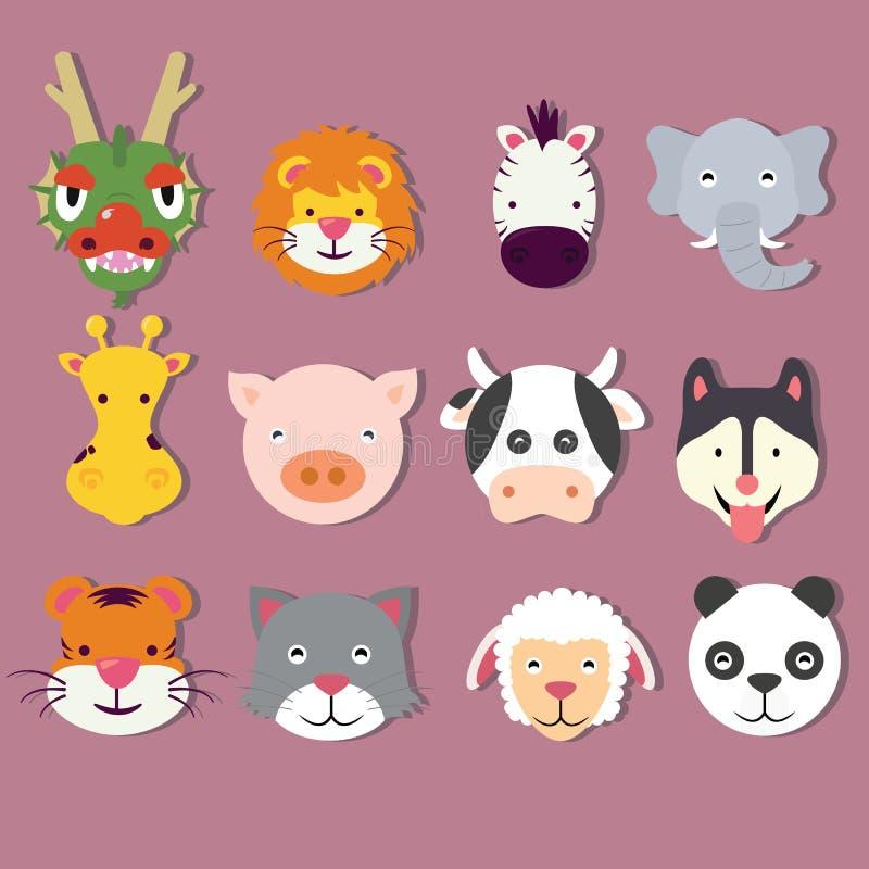 Ζωική μάσκα προσώπων εικονιδίων καθορισμένη διανυσματική απεικόνιση