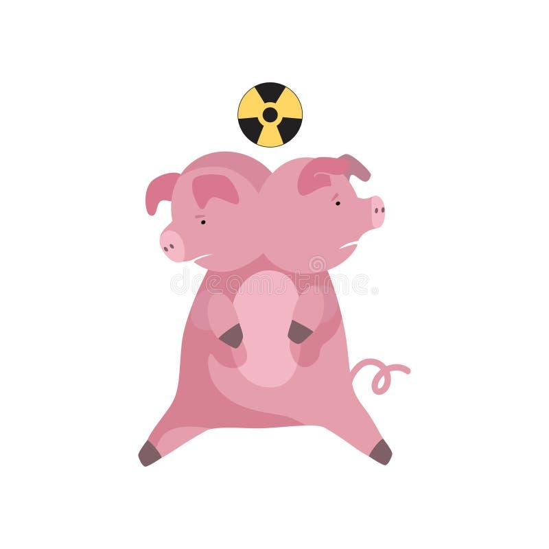 Ζωική μεταλλαγή, ραδιενεργός μόλυνση του περιβάλλοντος, οικολογική διανυσματική απεικόνιση καταστροφής σε ένα λευκό απεικόνιση αποθεμάτων