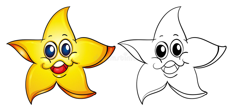 Ζωική περίληψη για τον αστερία με το ευτυχές πρόσωπο απεικόνιση αποθεμάτων