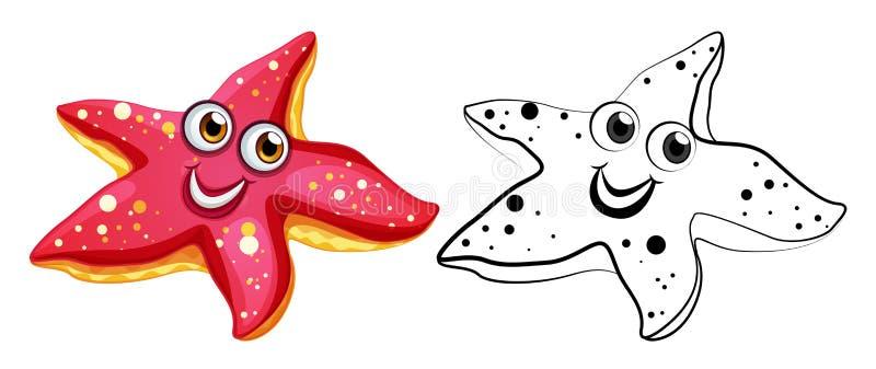 Ζωική περίληψη για τον αστερία με το ευτυχές πρόσωπο ελεύθερη απεικόνιση δικαιώματος