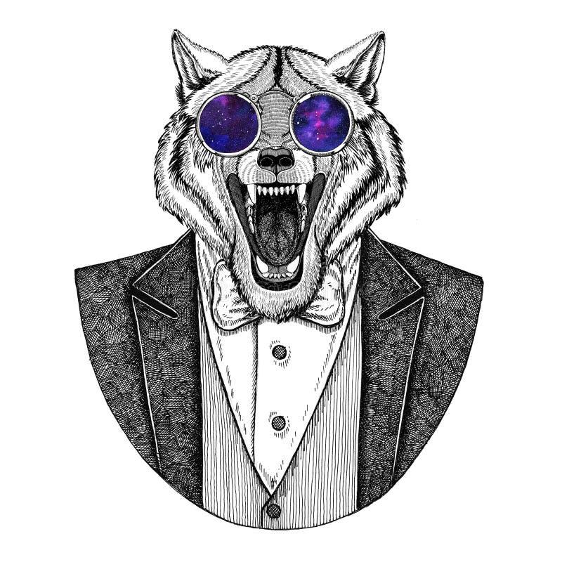 Ζωική συρμένη χέρι εικόνα Hipster σκυλιών λύκων για τη δερματοστιξία, έμβλημα, διακριτικό, λογότυπο, μπάλωμα, μπλούζα απεικόνιση αποθεμάτων