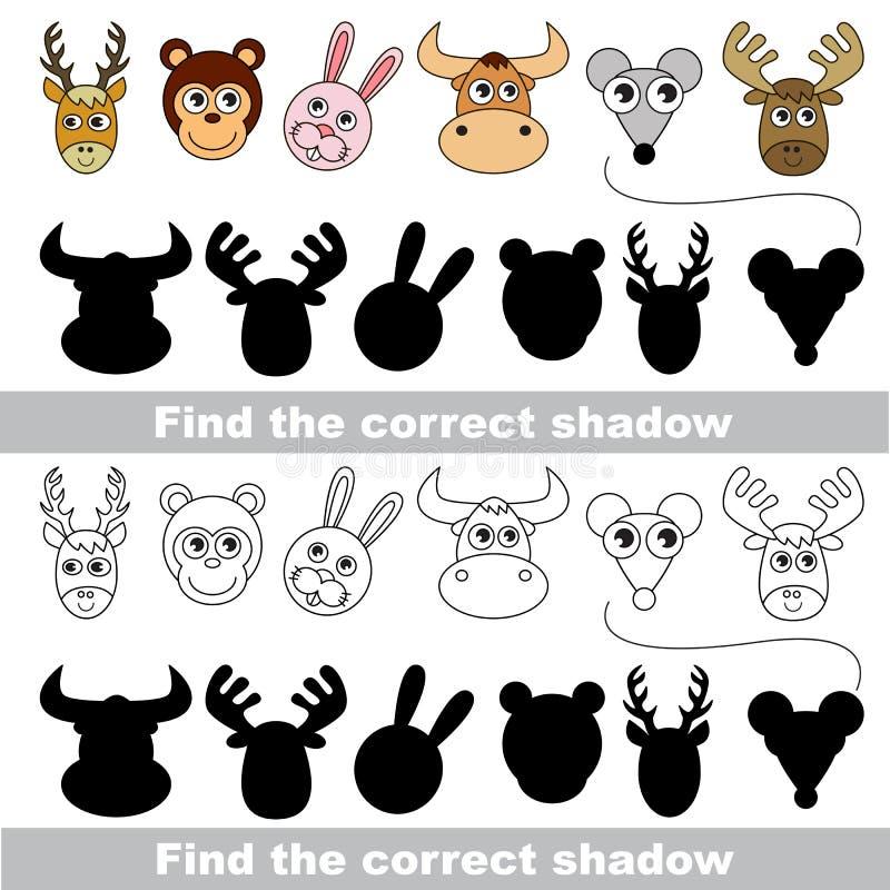ζωική συλλογή διαφορετική κάθε μια στρώματα που χωρίζονται Βρείτε τη σωστή σκιά διανυσματική απεικόνιση