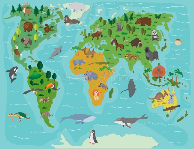 Ζωικός κόσμος Αστείος χάρτης κινούμενων σχεδίων διανυσματική απεικόνιση