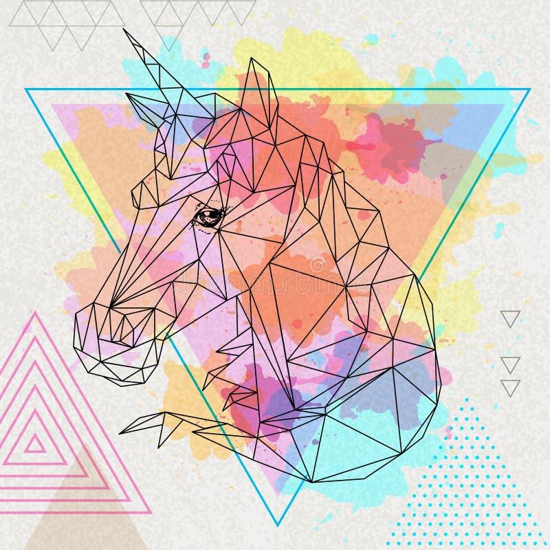 Ζωικός μονόκερος φαντασίας Hipster polygonal στο καλλιτεχνικό υπόβαθρο watercolor πολυγώνων διανυσματική απεικόνιση