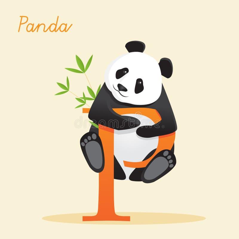 Ζωικό αλφάβητο με το panda διανυσματική απεικόνιση