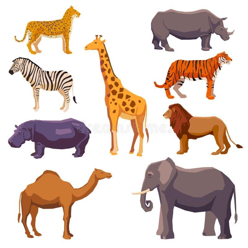 Ζωικό διακοσμητικό σύνολο της Αφρικής διανυσματική απεικόνιση