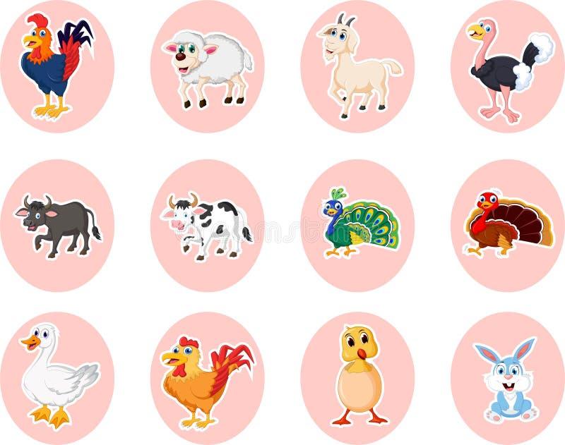 Ζωικό σύνολο αγροτικών κινούμενων σχεδίων απεικόνιση αποθεμάτων