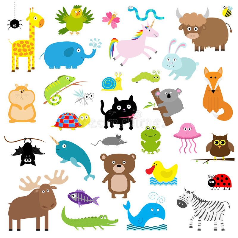 Ζωικό σύνολο ζωολογικών κήπων Χαριτωμένη συλλογή χαρακτήρα κινουμένων σχεδίων απομονωμένος Άσπρη ανασκόπηση Εκπαίδευση παιδιών μω απεικόνιση αποθεμάτων