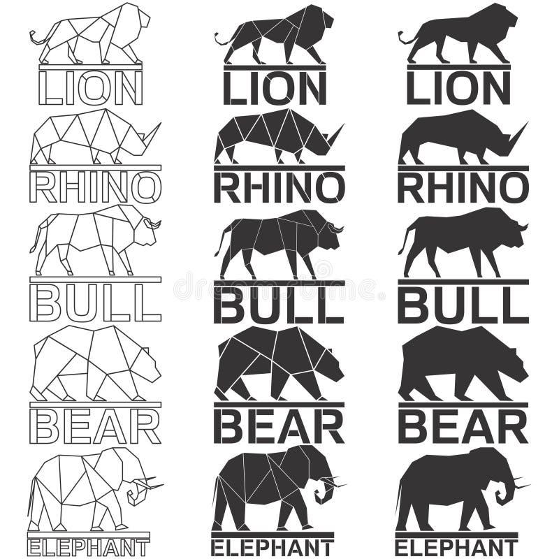 Ζωικό σύνολο λογότυπων στοκ εικόνα
