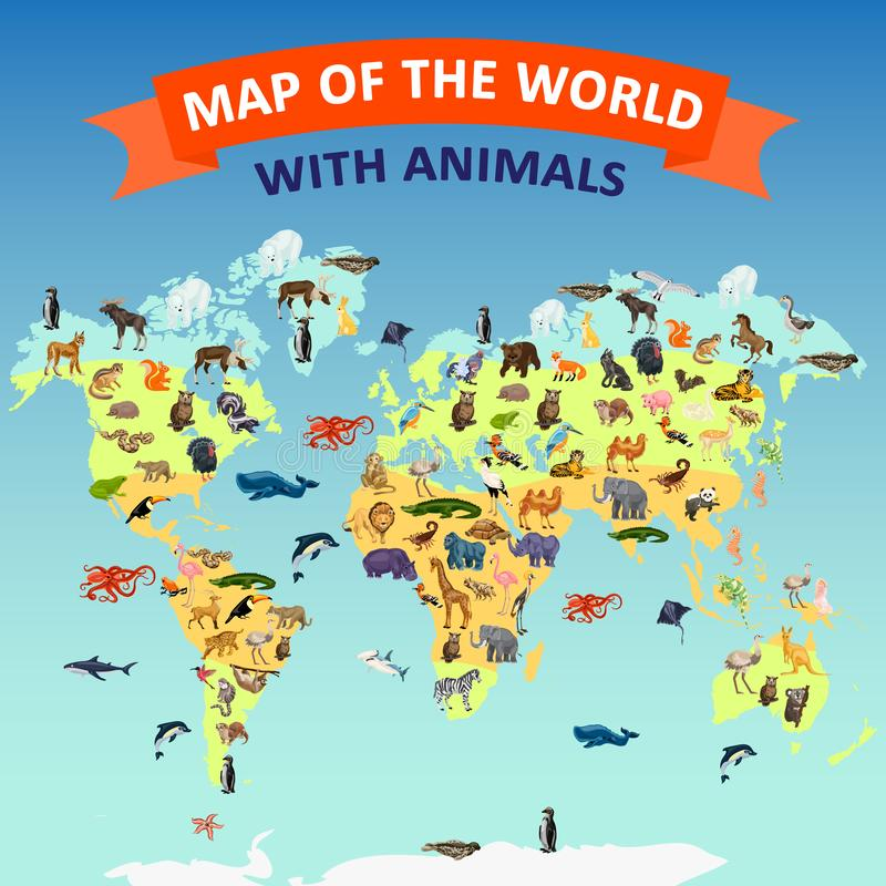 Ζωικό υπόβαθρο έννοιας παγκόσμιων χαρτών, ύφος κινούμενων σχεδίων ελεύθερη απεικόνιση δικαιώματος