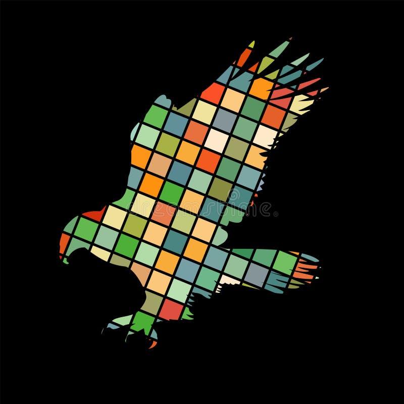 Ζωικό υπόβαθρο σκιαγραφιών χρώματος μωσαϊκών πουλιών γερακιών αετών γερακιών ελεύθερη απεικόνιση δικαιώματος