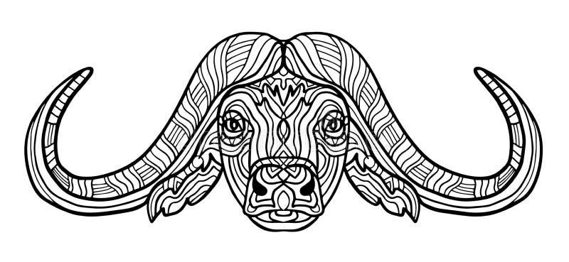 Ζωικό χρωματίζοντας βιβλίο Buffalo για την απεικόνιση ράστερ ενηλίκων Αντιαγχωτικός χρωματισμός για τον ενήλικο Ύφος Zentangle Ο  διανυσματική απεικόνιση