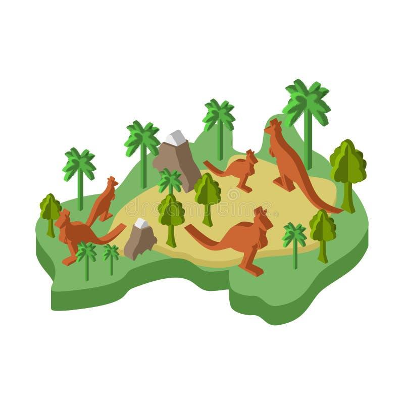 Ζωικό Isometric ύφος χαρτών της Αυστραλίας Χλωρίδα και πανίδα Διανυσματικό IL απεικόνιση αποθεμάτων