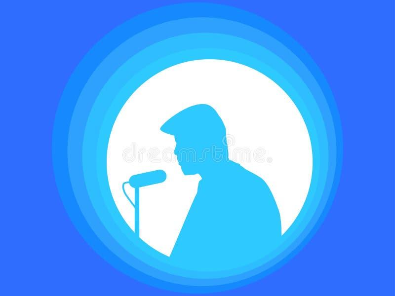 ζωντανός τραγουδιστής οργής μουσικής μικροφώνων ατόμων έννοιας Ομιλία ομιλητών ` s σκιαγραφία ατόμων διάνυσμα απεικόνιση αποθεμάτων