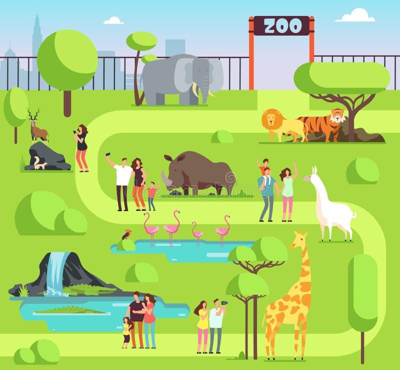 Ζωολογικός κήπος κινούμενων σχεδίων με τους επισκέπτες και τα ζώα σαφάρι Ευτυχείς οικογένειες με τα παιδιά στη ζωολογική διανυσμα απεικόνιση αποθεμάτων