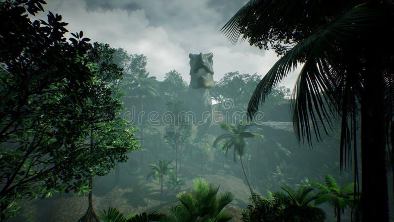 Ζωτικότητα δεινοσαύρων Τ Rex Tyrannosaur στη ζούγκλα Ρεαλιστικός δώστε τρισδιάστατη απόδοση στοκ φωτογραφίες