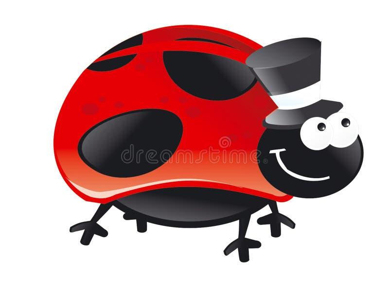 Ζωύφιου καπέλων κόκκινη Πόλκα ευτυχής μύγα χαμόγελου σημείων μαύρη στοκ φωτογραφία