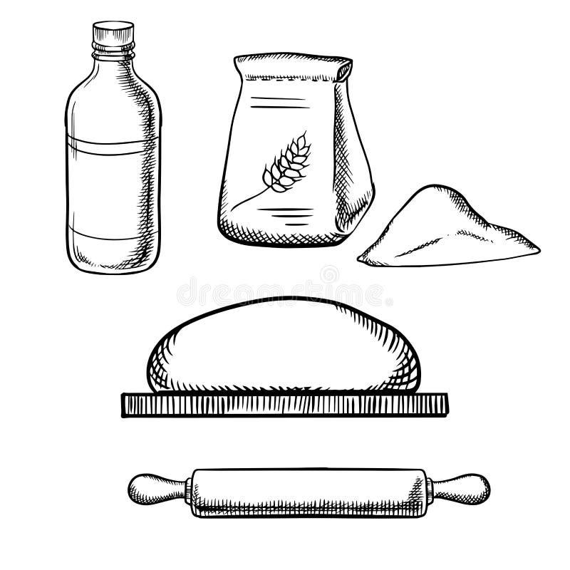 Ζύμη με την κυλώντας καρφίτσα, το αλεύρι και το γάλα ελεύθερη απεικόνιση δικαιώματος
