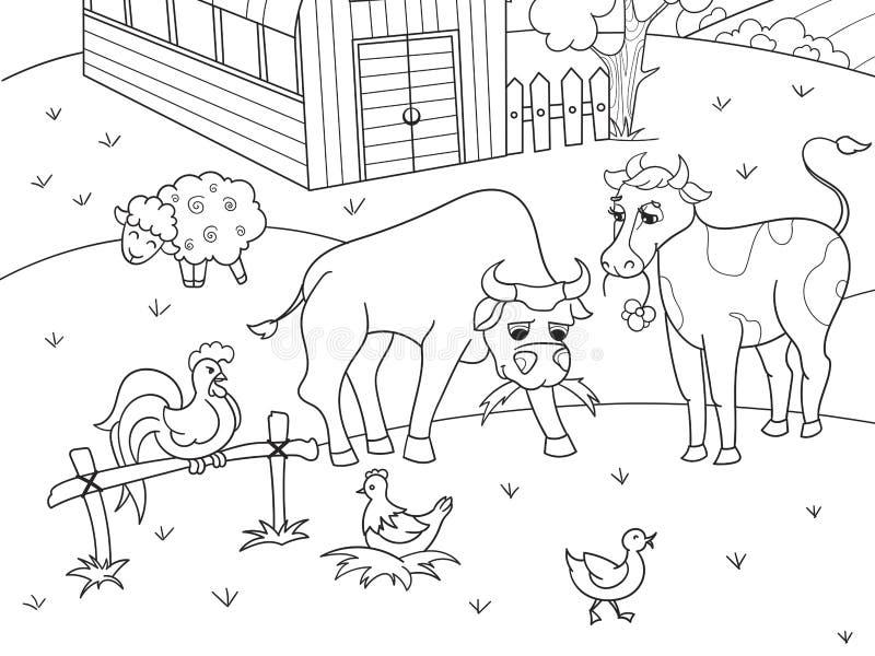 Ζώα αγροκτημάτων και αγροτικό διάνυσμα χρωματισμού τοπίων για τους ενηλίκους απεικόνιση αποθεμάτων