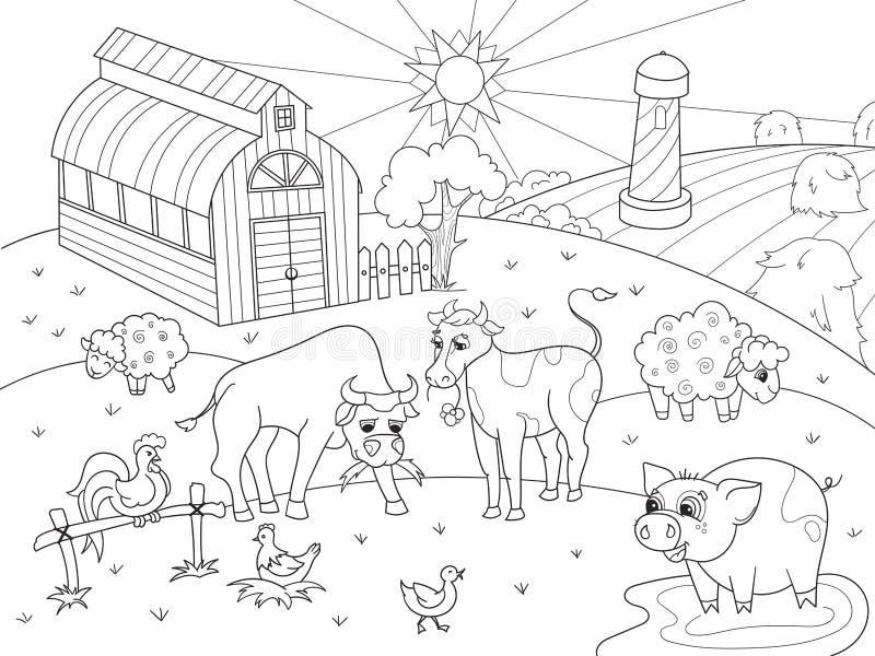 Ζώα αγροκτημάτων και αγροτικό διάνυσμα χρωματισμού τοπίων για τους ενηλίκους διανυσματική απεικόνιση