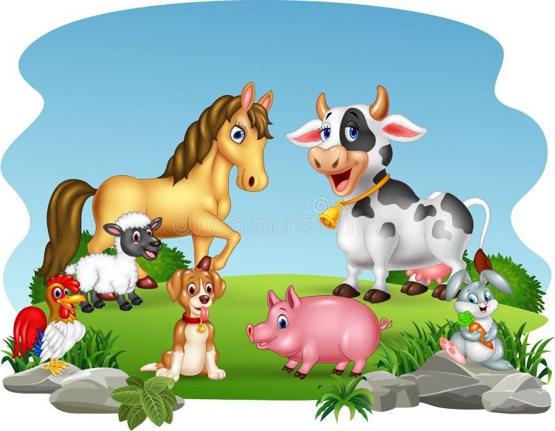 Ζώα αγροκτημάτων κινούμενων σχεδίων με το υπόβαθρο φύσης ελεύθερη απεικόνιση δικαιώματος