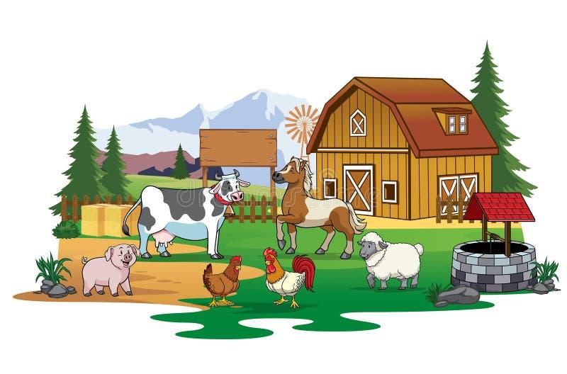 Ζώα αγροκτημάτων που συλλέγουν στη γεωργική γη απεικόνιση αποθεμάτων