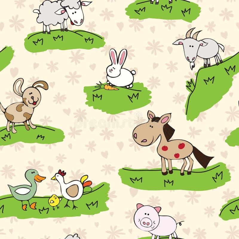 Ζώα αγροκτημάτων στη χλόη απεικόνιση αποθεμάτων