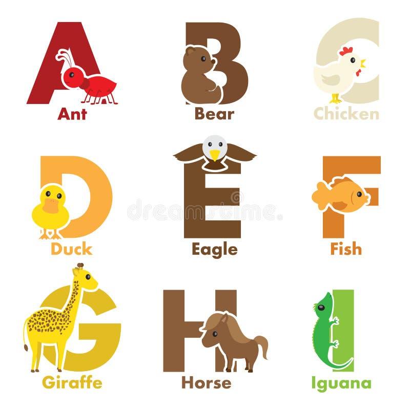 Ζώα αλφάβητου ελεύθερη απεικόνιση δικαιώματος