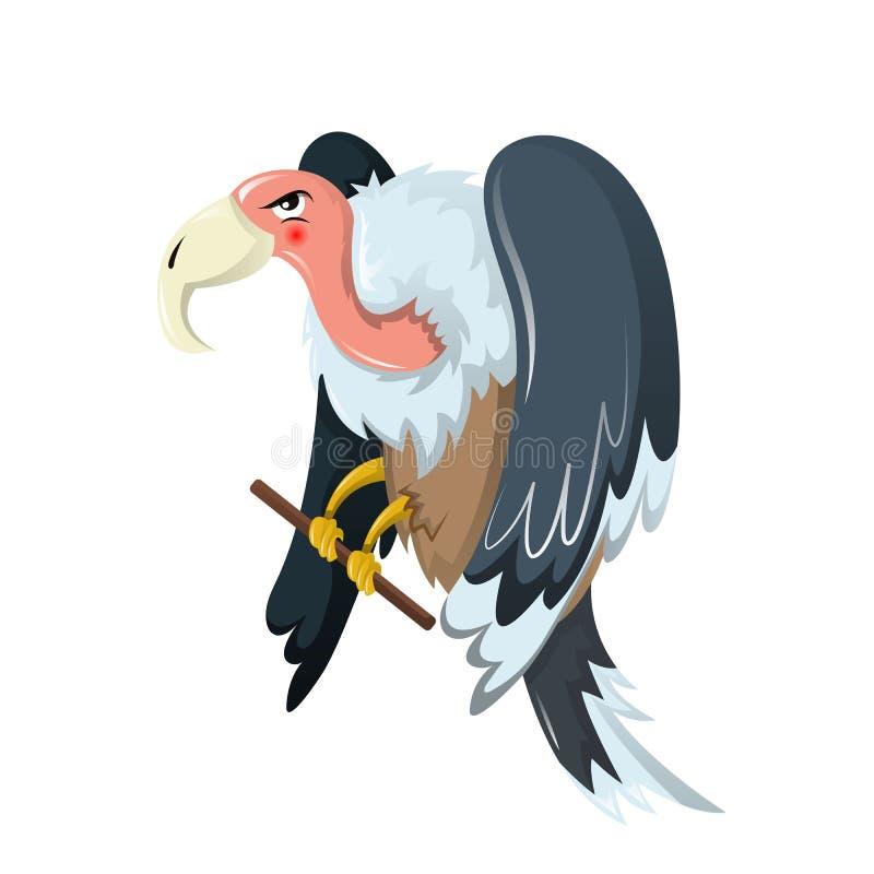 ζώα αστεία Το πουλί του θηράματος είναι γύπας, οικογένεια των γερακιών διανυσματική απεικόνιση