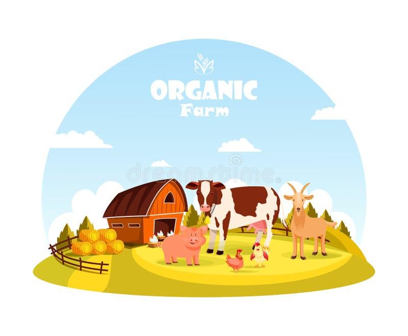 Ζώα βοοειδών και αγροκτημάτων στην αγροτική μάντρα ελεύθερη απεικόνιση δικαιώματος