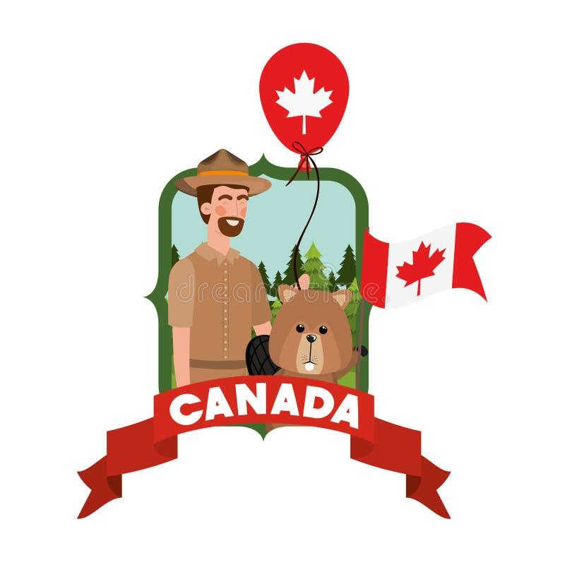 Ζώα δάσους κάστορα και δασοφύλακες του Καναδά απεικόνιση αποθεμάτων