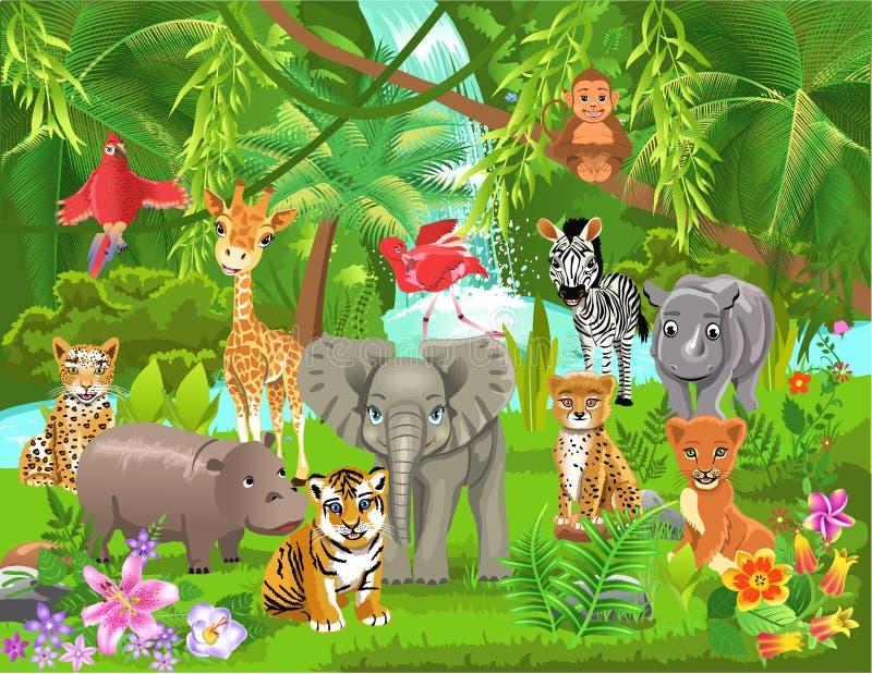 Ζώα ζουγκλών ελεύθερη απεικόνιση δικαιώματος