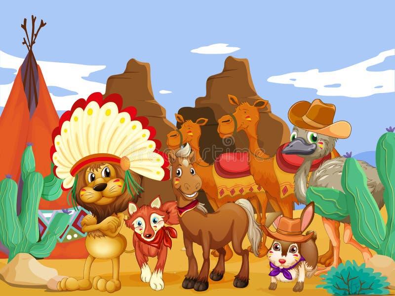 Ζώα και έρημος ελεύθερη απεικόνιση δικαιώματος