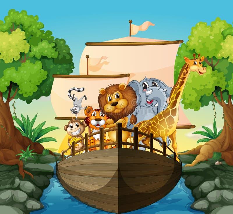 Ζώα και βάρκα απεικόνιση αποθεμάτων