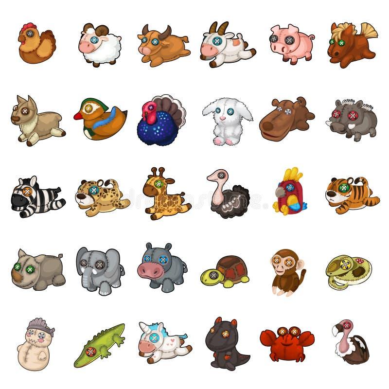 Ζώα, πουλιά, μαλακό γεμισμένο σύνολο παιχνιδιών κατοικίδιων ζώων 30 εικονίδια που απομονώνονται στο άσπρο υπόβαθρο Διάνυσμα στο ύ απεικόνιση αποθεμάτων